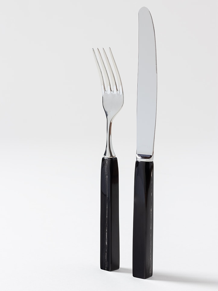 Natural Horn Cutlery in stainless steel with natural horn handle handmade by Zanchi 1952