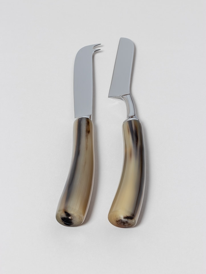 Cheese Cutlery in natural horn handmade by Zanchi 1952
